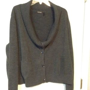 DAISY FUENTES LARGE CHARCOAL COWL NECK CARDIGAN